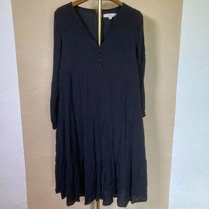 LOFT Cute Boho Tiered Button Black Midi Dress